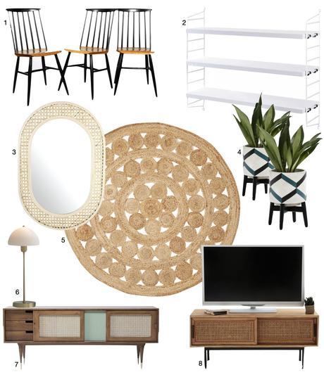 miroir oval meuble tv cannage tapis rond jute chaise bois accessoires déco vintage