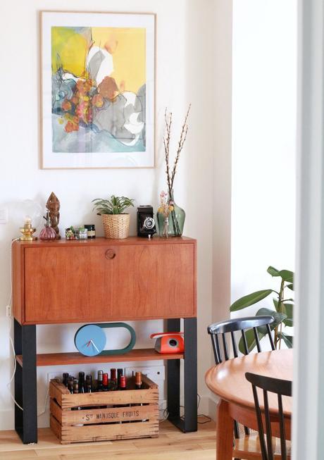 meuble teck pieds noirs bar appartement vintage blog déco