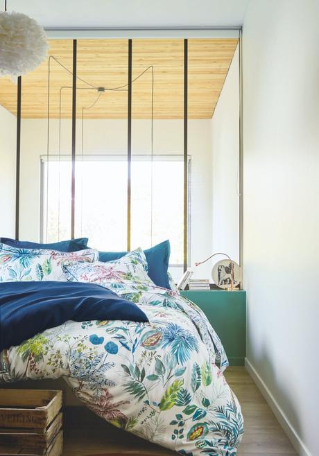 housse de couette jungle bleu vert motif palmier fabriqué en France
