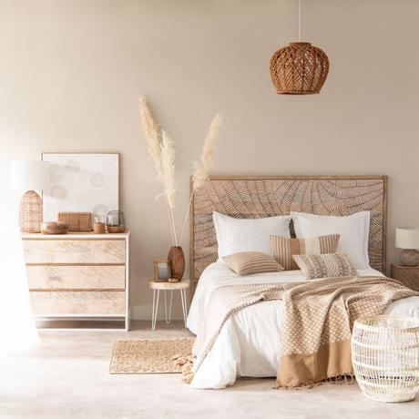 déco chambre nature beige tapis fibres naturelles mobilier bois suspension