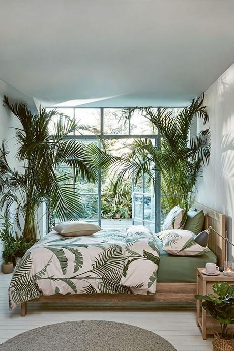 chambre déco végétale naturelle porte vitrée lit en bois