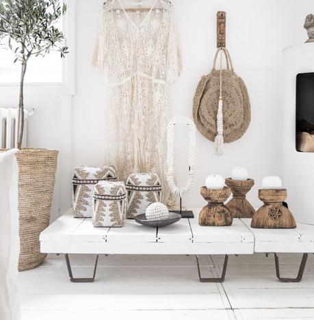 table basse bois déco bohémienne chic herbes de la pampa