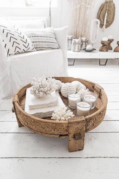 table basse bois brut style bohème chic blog déco clematc