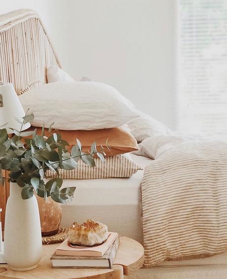 déco chambre nature coussin lin rayure intérieur champêtre bucolique clematc