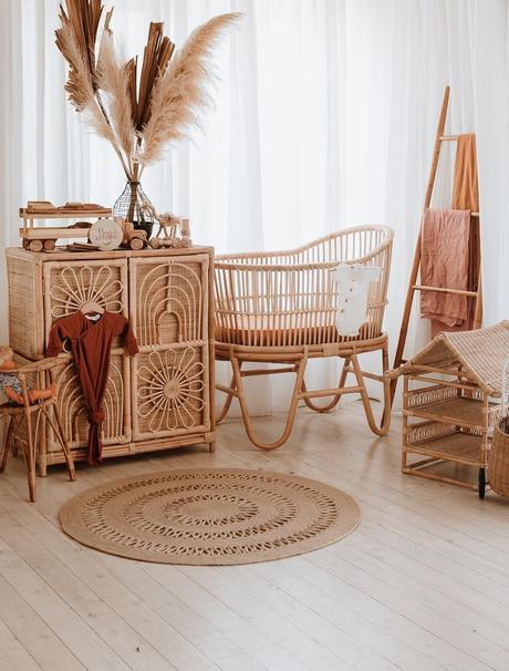 berceau mobilier rotin tapis fibres naturelles herbes de la pampa chambre enfant blog déco clematc