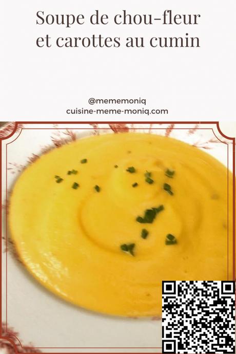 soupe de chou-fleur et carottes au cumin