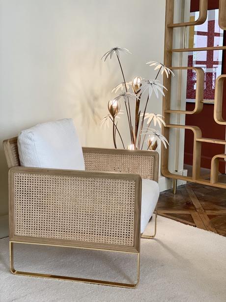 fauteuil design rétro cannage bois laiton - blog déco - clem around the corner
