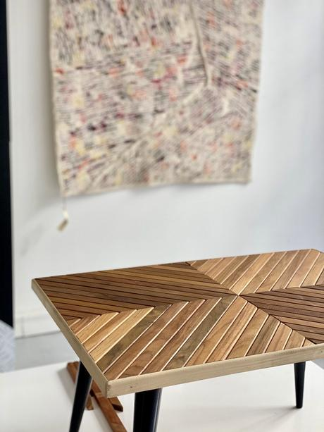 Paris Design Week 2020 Emmaüs upcycling teck chute bois table basse