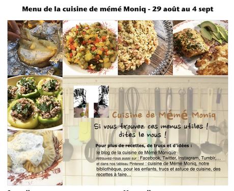 menus de la semaine du 29 août au 4 septembre