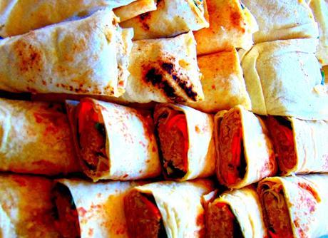 Sandwiches roulés aux pois chiches... sandwiches roulés au végépâté
