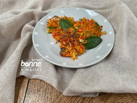 Galettes « paillassons » aux carottes et poivron rouge