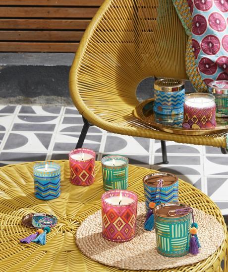 bougie verre motif éthnique Afrique wax dessin géométrique colorée fête thème bohème