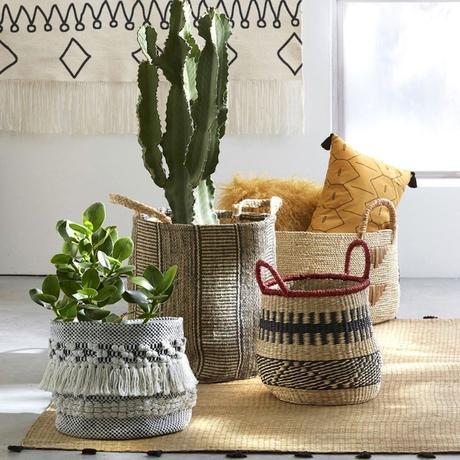 panier matériaux naturel rangement pot de fleur - blog déco - clemaroundthecorner