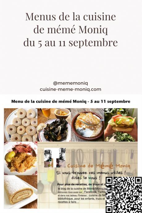 menu de la cuisine de meme moniq du 5 au 11 septembre