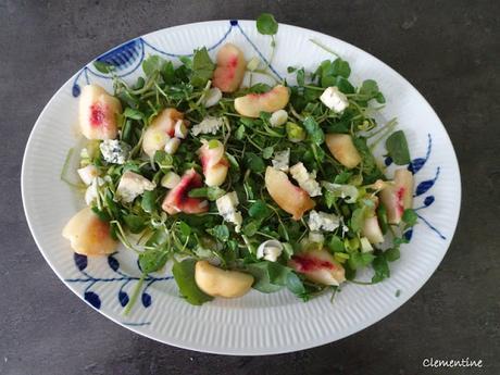 Salade de cresson aux pêches et fromage bleu de Lorraine Pascale