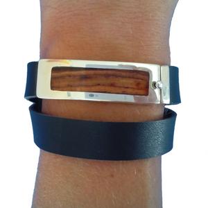 bracelet personnalisé pour homme en bois et argent
