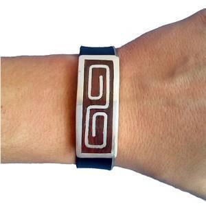 bracelet bois argent et cuir pour homme