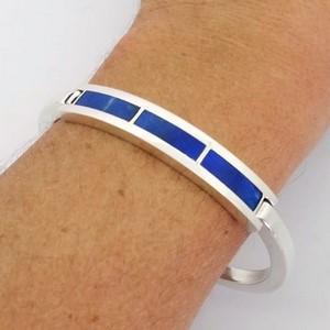 bracelet sur-mesure homme en argent et pierre de lapis lazuli