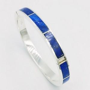 bracelet jonc personnalisé en argent et pierre de lapis lazuli pour homme
