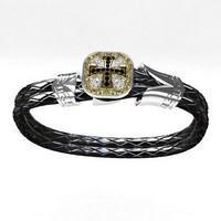 gros bracelet croix en argent cuir et diamants noirs pour homme