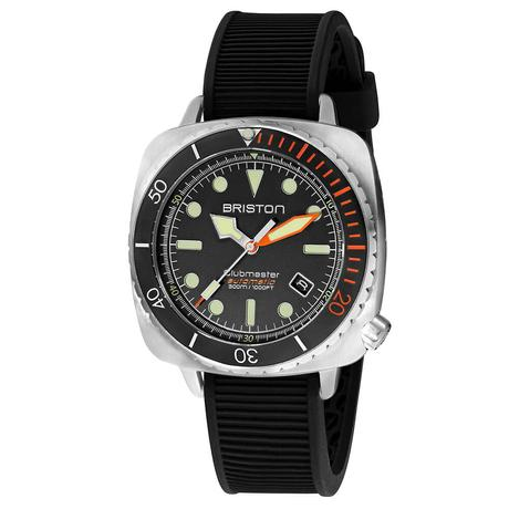 Briston - Clubmaster Diver Pro Acier - HMS Automatique - Bracelet Silicone Noir - Orange