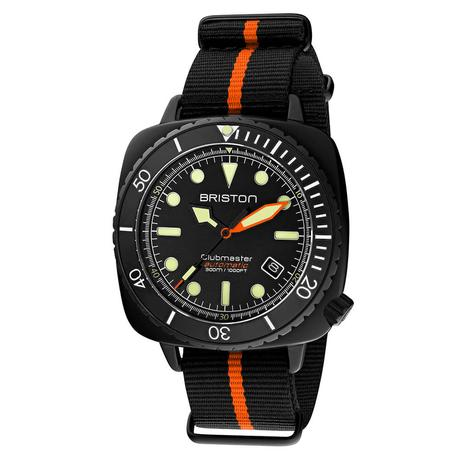 Briston - Clubmaster Diver Pro Acetate - HMS Automatique - NATO rayé Orange