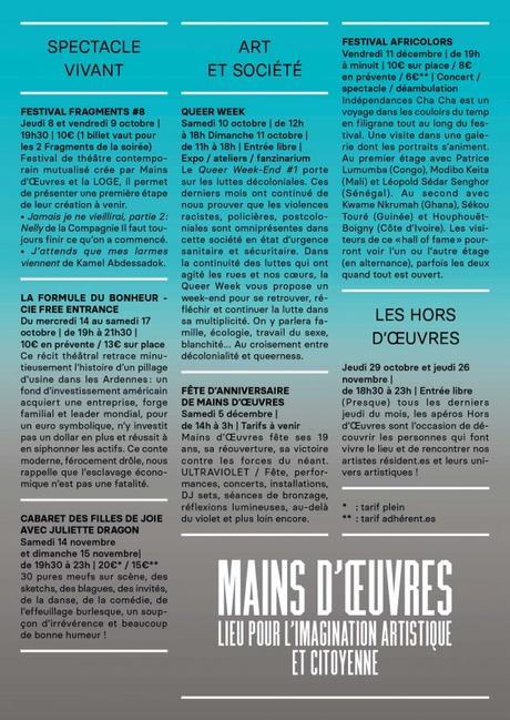 PROGRAMME DE L'AUTOMNE À MAINS D'ŒUVRES