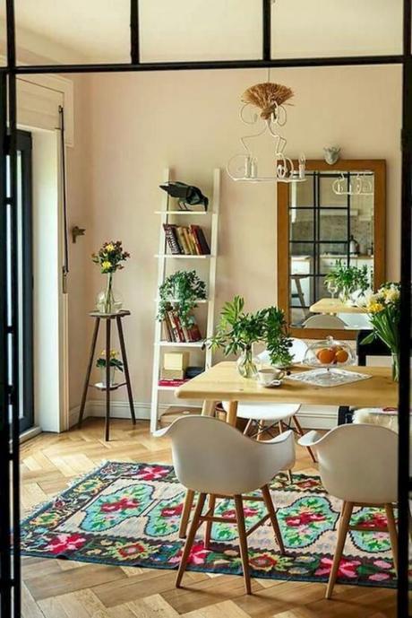 clemaroundthecorner salon cuisine tapis vintage chaise scandinave
