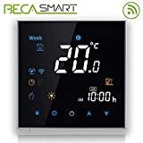 BECA 3000 Series 3/16A LCD Écran Tactile Eau/Électrique/Chaudière Intelligent Programmation Thermostat de Contrôle avec Connexion WIFI (Chauffage électrique,Noir)
