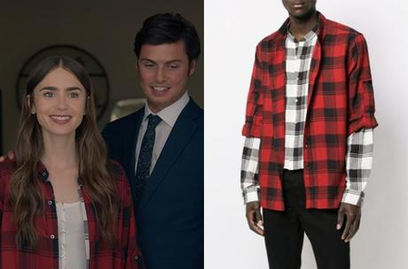 EMILY IN PARIS : Emily's red tartan shirt in S1E01