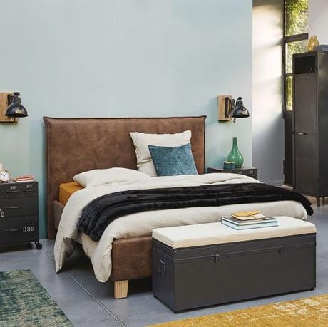 lit en suédine marron déco chambre industrielle accessoire métallique gris noir blog clematc