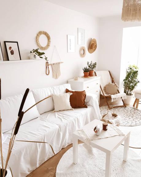 salon roseau séché tapis rond blanc corde - blog déco - clem around the corner