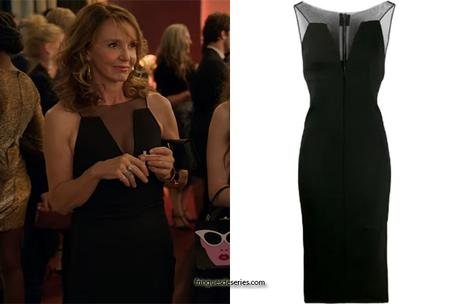 EMILY IN PARIS : Sylvie's black mesh-panelled dress in S1E02