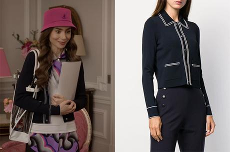EMILY IN PARIS : Emily's navy cardigan in S1E07