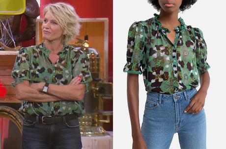 AFFAIRE CONCLUE : la chemise verte fleurie de Sophie Davant