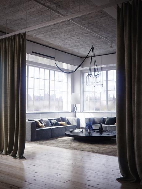 salon sobre élégant rideau séparation intérieur design contemporain blog déco clematc