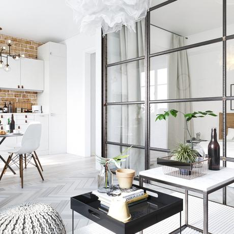 studio lumineux cloison verre chambre cuisine ouverte mur en briques rouges