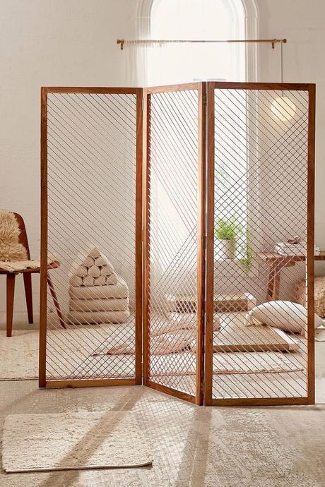 paravent géométrique trois panneau bois acacia déco moderne tendance
