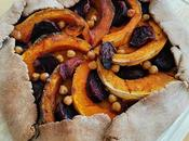 Tarte rustique sarrasin, potimarron betteraves rôtis