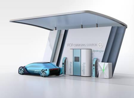 Fuel Cell powered autonomous car filling gas in Fuel Cell Hydrogen Station. 3D rendering image. Banque d'images - 123796672