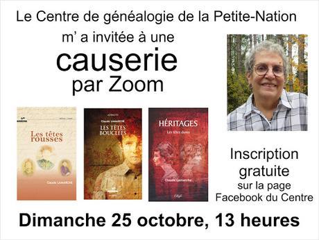 Ce dimanche 25 octobre...causerie de la généalogie à mes romans