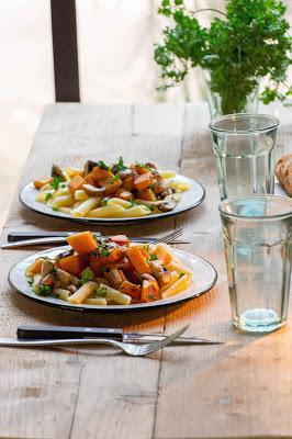 Recette des pâtes aux champignon et courge