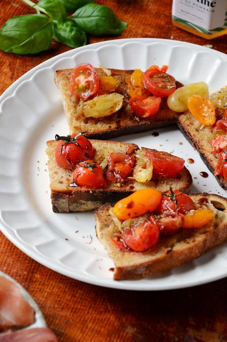 tapas vegan tartine gratiné miel tomate cerise apéritif healthy équilibre
