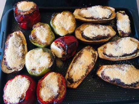Légumes farcis au four, contrôle technique et risotto aux poivrons