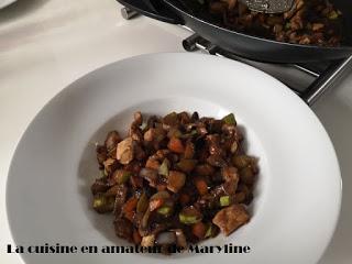 Légumes et escalope de dinde au wok