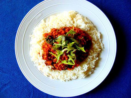Ragoût de lentilles sur riz