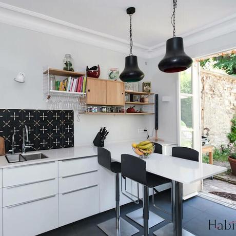 cuisine blanche maison à Saint Germain en Laye carreau de ciment crédence