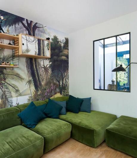 salon canapé velours vert kaki modulable cubique