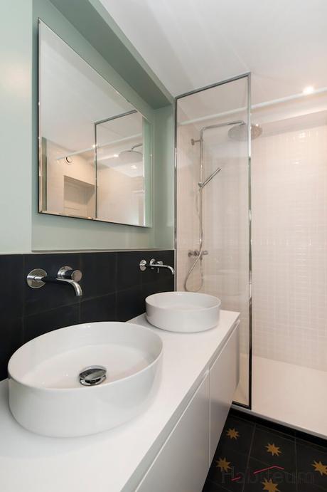 salle de douche chambre ado douche italienne bleu vert amande vasque bac ovale