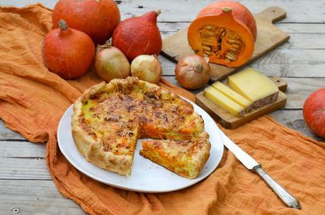 Tarte potimarron, oignon et comté